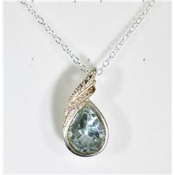 PEAR CUT SKY BLUE TOPAZ AND DIAMOND NECKLACE