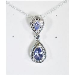PEAR CUT TANZANITE DANGLE DROP NECKLACE