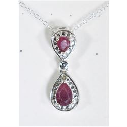 PEAR CUT RUBY DANGLE DROP NECKLACE