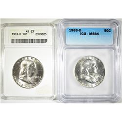 (2) 1963-D FRANKLIN HALF DOLLARS,  ICG MS-64 &