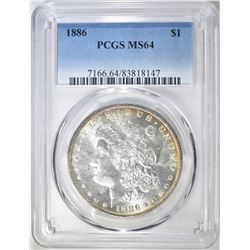 1886 MORGAN DOLLAR  PCGS MS-64