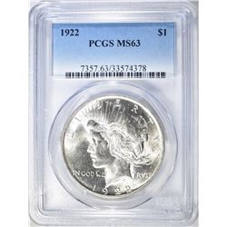 1922 PEACE DOLLAR  PCGS  MS-63