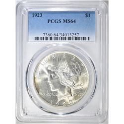 1923 PEACE DOLLAR  PCGS  MS-64