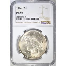 1924 PEACE DOLLAR  NGC MS-64