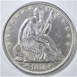1874 ARROWS SEATED LIBERTY HALF DOLLAR  CH AU