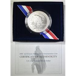 2000 LEIF ERICSON UNC COMMEM SILVER DOLLAR BOX/COA