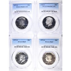 4 PROOF KENNEDY HALVES ALL PCGS GRADED