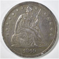 1849 SEATED LIBERTY DOLLAR CH AU TONED