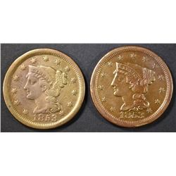 (2) 1853 BRAIDED HAIR LARGE CENTS