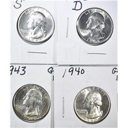 1940 & 1943-P-D-S GEM BU WASHINGTON QUARTERS