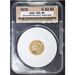 1910 $2.5 GOLD INDIAN NAC SUPERB GEM BU
