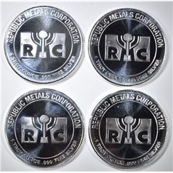 4-ONE OUNCE .999 SILVER RMC ROUNDS