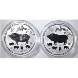 2-2019 AUSTRALIA 1oz SILVER YEAR OF THE PIG COINS