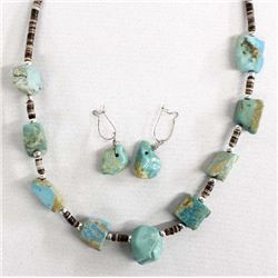 Navajo Turquoise Nugget Necklace & Earrings