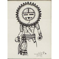 1991 Original Hopi Pen and Ink by Lomahinma