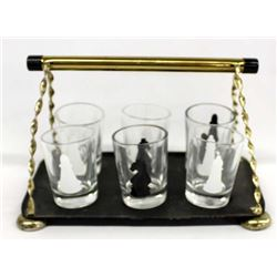 Vintage Set of 6 Chess Shot Glasses on Display