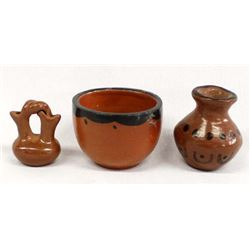 3 Native American Pottery Miniatures