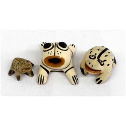 3 Native American Pottery Frog Miniatures