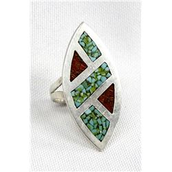 Navajo Sterling Chip Inlay Turquoise Coral Ring