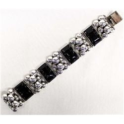 Mexican Sterling and Black Onyx Link Bracelet