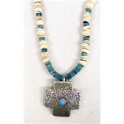 Navajo Sterling Turquoise & Shell Heishi Choker