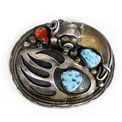Navajo Sterling Turquoise Coral Buckle by Emerson