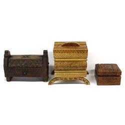 3 Ethnic Lidded Wood Boxes