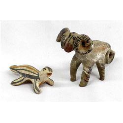 2 Santo Domingo Pottery Animals