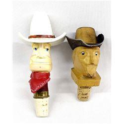 2 Vintage Cowboy Bottle Stoppers