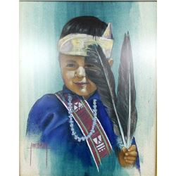 Framed Print of Navajo Boy by Jane Robinson Mabry