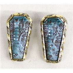 Sterling & Carved Turquoise Clip On Earrings
