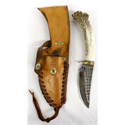 Beautiful Hunting Knife with Antler Handle