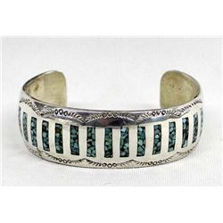 Navajo Sterling Chip Inlay Turquoise Bracelet