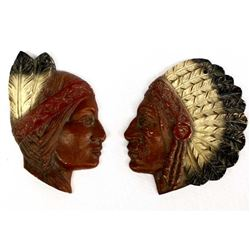 Pair of Composition Native American Plaques