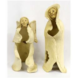 Pair of Stoneware Pottery Statues