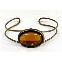 Antique Brass and Amber Cabochon Bracelet