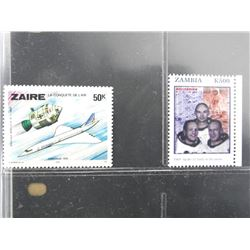 Lot of 2 Stamps - Zambia & Zaire.