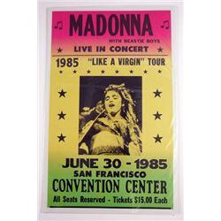 Madonna 1985 Like a Virgin Tour Poster