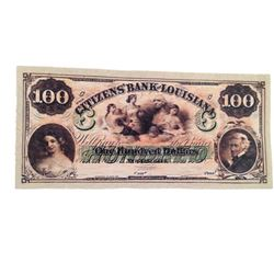 Django Citizen's Bank of Louisiana $100 Bank Note Movie Props