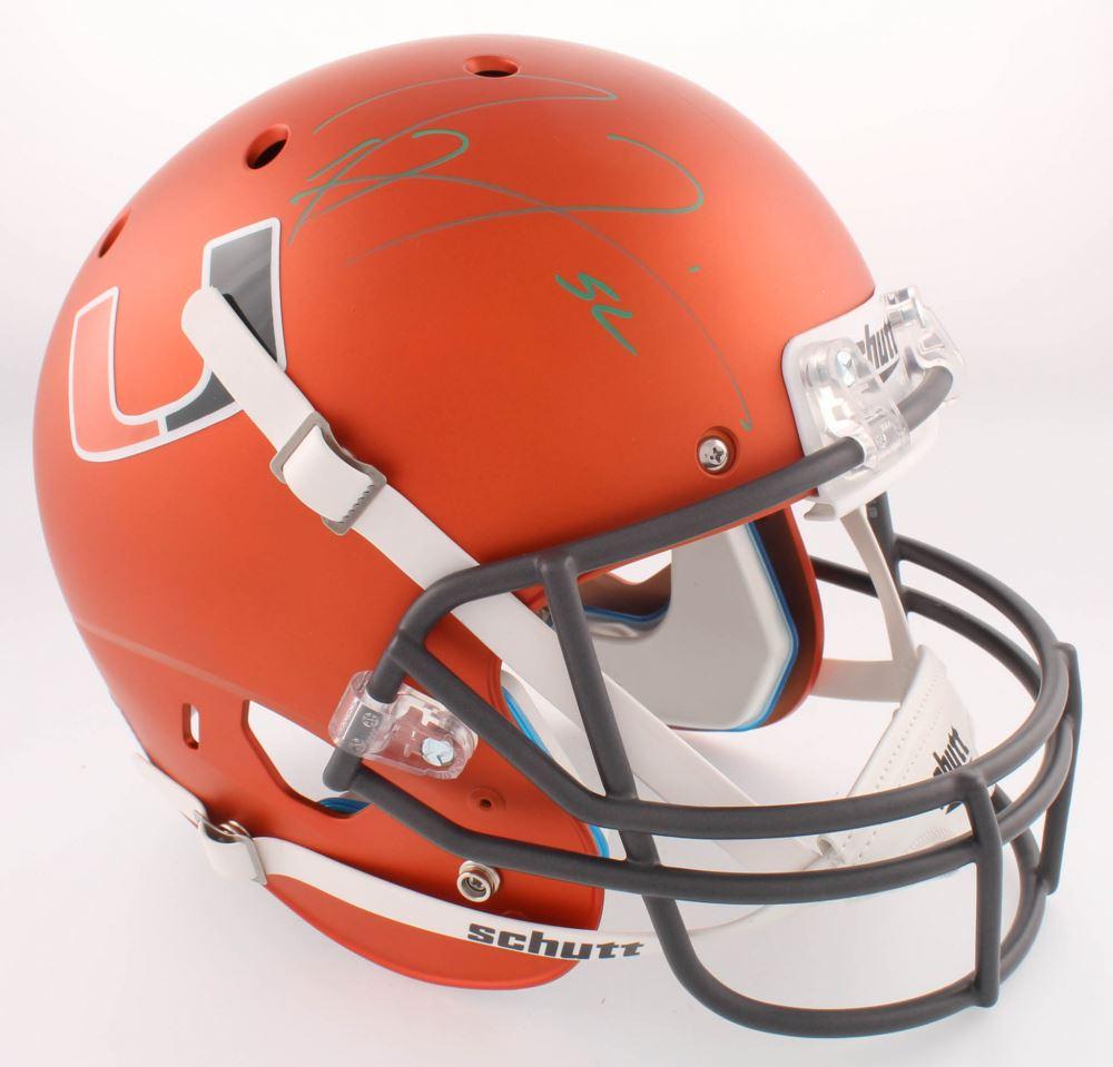 Ray Lewis Miami Hurricanes Autographed Mini Helmet - SM Holo