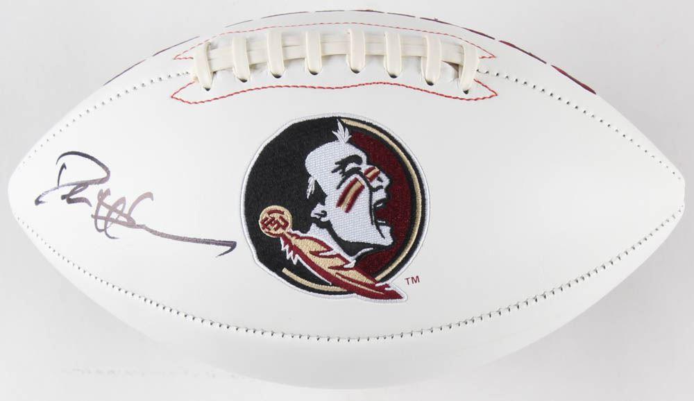 premium selection ec573 3c8f6 Deion Sanders Signed Florida State Seminoles Logo Football ...