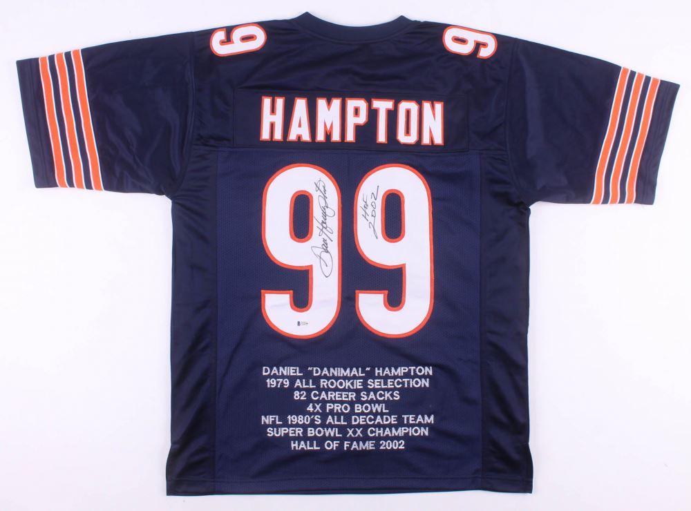buy popular 6ab1b df120 Dan Hampton Signed Chicago Bears Career Highlight Stat ...