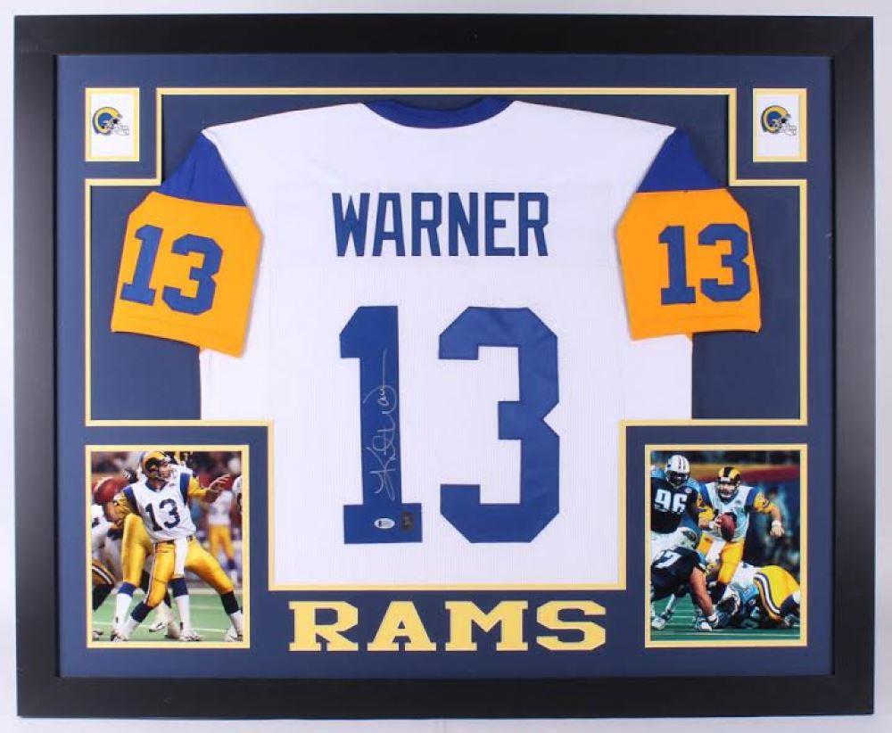 buy online 9b328 794cb Kurt Warner Signed St. Louis Rams 35x43 Custom Framed ...