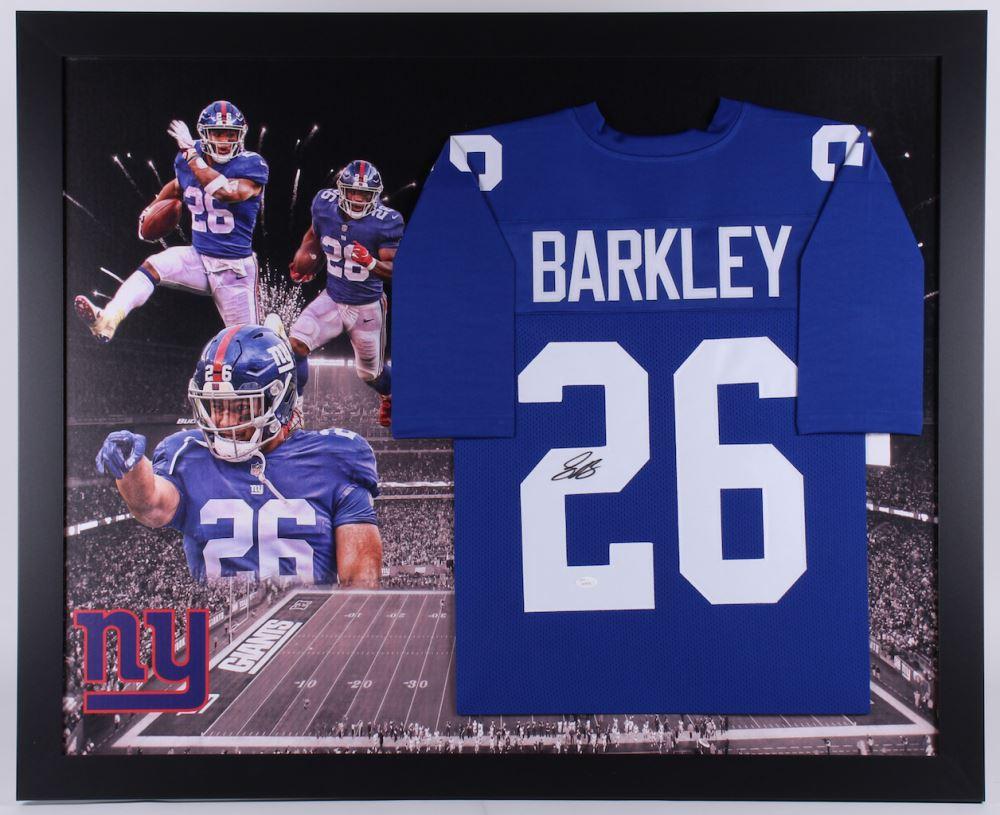 best authentic 3957c 19329 Saquon Barkley Signed New York Giants 35.5x43.5 Custom ...