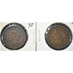 1846 & 1847 LARGE CENTS, BOTH XF