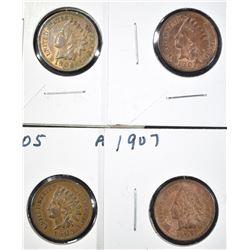 1902, 05, 06 & 07 AU INDIAN CENTS