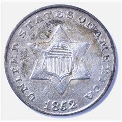 1852 3 CENT SILVER AU
