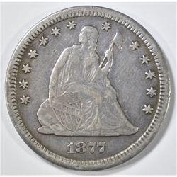 1877-CC SEAT3ED LIBERTY QUARTER XF