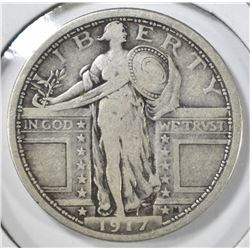 1917 TYPE-1 STANDING LIBERTY QUARTER, F.FV