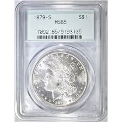 1879-S MORGAN DOLLAR PCGS MS-65 OGH